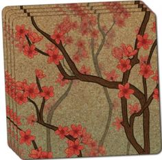 "Custom & Cool {4"" Inches} Set Pack of 4 Square ""Grip Texture"" Drink Cup Coaster Made of Cork w/ Cork Bottom & Elegant Modern House Decor Fully Bloomed Cherry Blossoms Design [Red, Brown & Beige]"