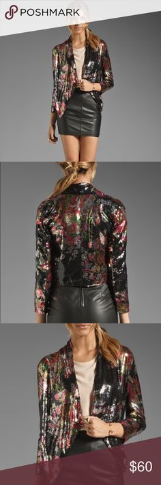 Lovers + Friends floral sequin jacket Gorgeous floral sequin jacket by Lovers + Friends that will dress up any outfit! Asymmetrical hem, allover sequins, open front. 100% Poly. Lovers + Friends Jackets & Coats