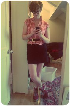 290312 Gingham blouse - clothes swap, belt - charity shop, skirt - H, Nike trainers - US