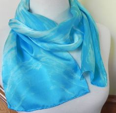 Shibori Silk Satin Scarf Hand Dyed Turquoise by RosyDaysScarves