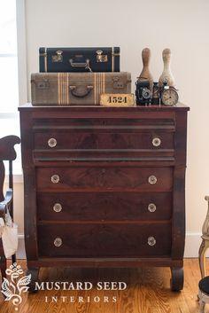 "Antique dresser , vintage suitcases vignette, men's bedroom say hello to ""bergere"" - Miss Mustard Seed"