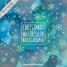 Christmas Watercolor Background with Snowflakes Free Vector