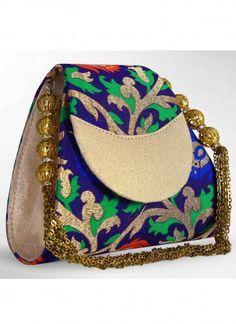 Attractive Multicolored Brocade Clutch Bag