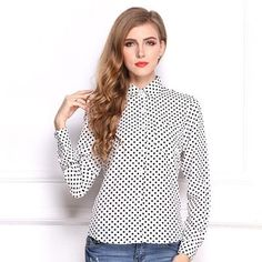 blouse women casual Large size dots black white full sleeves Cardigan buckle summer tops female blouses womens plus size 2xl