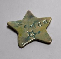 Fridge Magnet. Ceramic Magnet. Peace Star. by FaeGartenClay