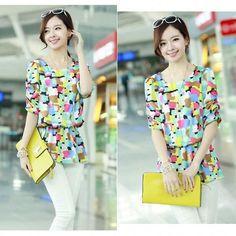 Women's New Casual Flower/Pattern Print Chiffon Shirt Tops Blouse