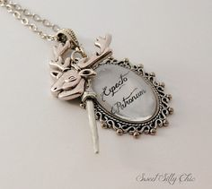 Harry Potter Patronus Necklace Long Silver Harry by SweetSillyChic, $32.00