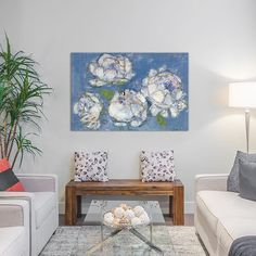 "East Urban Home Vase of Peonies Painting Print on Wrapped Canvas Size: 26"" H x 40"" W x 1.5"" D"