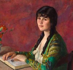 Young Woman Reading. Ivan G. Olinsky (Russian-American, 1878-1962). Oil on canvas.