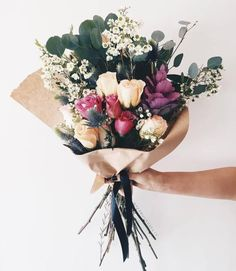 Bouquet of foliage, dark and bright flowers Bright Flowers, Beautiful Flowers, Hibiscus, Plants Are Friends, Bloom, Flower Aesthetic, Floral Bouquets, Splash Pad, Floral Arrangements