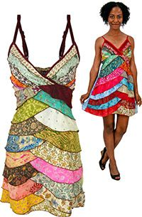 recycled Sari dress $32.95 handmade & fairly traded in India, funds 50 cups of food