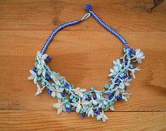 turkish oya necklace, flower necklace, blue white turquoise