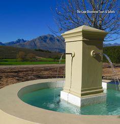 Fountain in the courtyard at Asara wine estate, Stellenbosch, Cape Winelands, South Africa.