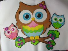 3 Buhos en fomi | Fomiart Foam Crafts, Crafts To Make, Felt Animals, Classroom Decor, Tweety, Decoupage, To My Daughter, Kids Room, Baby Shower