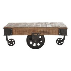 Mesa baja industrial con ruedas de mango macizo y metal An. 130 cm