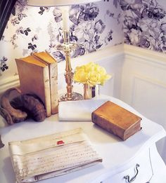books, letter and roses