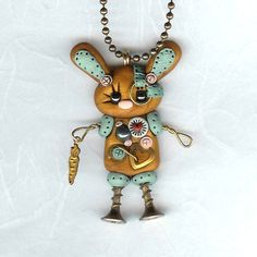 Steampunk Robot Easter Bunny Rabbit Necklace Polymer by Freeheart1, $24.00