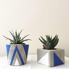 Botanica Home - pintaphotography Cement Art, Concrete Pots, Concrete Crafts, Concrete Projects, Concrete Planters, Beton Design, Concrete Design, Painted Flower Pots, Painted Pots