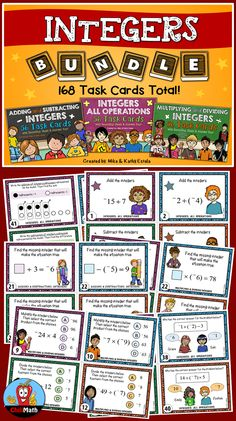 This Integer Task Cards BUNDLE includes 3 sets of differentiated task cards for a total of 168 cards! These task cards will engage and challenge your students to learn or practice the skills of Adding, Subtracting, Multiplying, and Dividing Integers. The variety of the questions will allow you to pick and choose which ones will best suit your students' needs. $ Teaching Math, Teaching Ideas, Adding Integers, Subtracting Integers, Rational Numbers, Teacher Pay Teachers, Teacher Stuff, Math Games, Task Cards