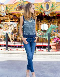 Knitted Tank and Frayed Skinny Jeans —via @TheFoxandShe
