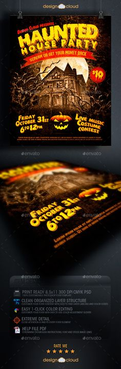 Haunted House Party Flyer Template PSD | Buy and Download: http://graphicriver.net/item/haunted-house-party-flyer-template/8860920?WT.ac=category_thumb&WT.z_author=Design-Cloud&ref=ksioks