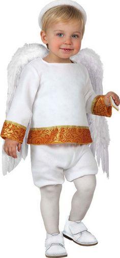 Disfraz de angelito para bebé: Este disfraz de angel de Navidad para bebé está compuesto de una camiseta, un pantalón corto y una aureola (alas, medias y zapatos no incluidos). La camiseta es de manga larga,...