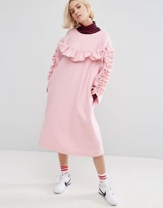 Buy it now. STYLENANDA Frill Detail Smock Dress - Pink. Dress by Stylenanda, Wool-mix knit, Scoop neckline, Frill ruffle detailing, Side pockets, Smock style, Loose fit � falls loosely over the body, Dry clean, 50% Polyester, 45% Acrylic, 5% Wool, Our model wears a UK S/ EU S/ US XS and is 175 cm/5'9� tall. ABOUT STYLENANDA Korean blogshop turned brand Stylenanda lives up to its self-assured translation �I am style� with a fashion-forward collection. Expect denim, jersey and co-ords i...