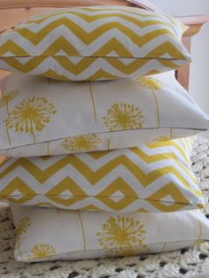 Pillow Covers  Sunny Yellow Dandelion or Chevron Zig by vertzvkv, $26.00