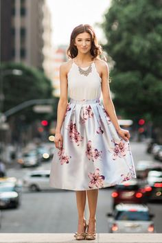 Henriette Grey Floral Midi Skirt