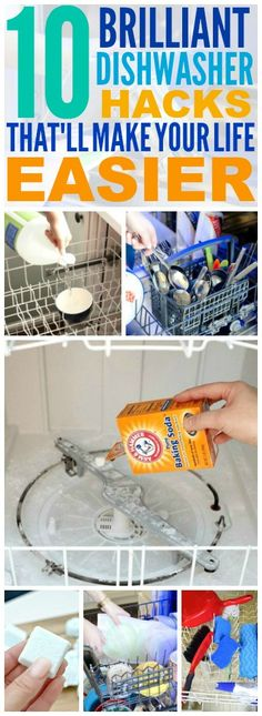 These 10 dishwasher hacks are THE BEST! I'm so glad I found these AMAZING tips! Now I have some great ways to clean things and clean my dishwasher! Definitely pinning