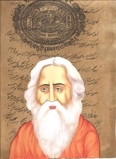 Rabindranath Tagore Painting Handmade Indian Miniature Stamp Paper Portrait Art