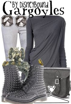 Gargoyles outfit - by disneybound Disney Bound Outfits, Disney Inspired Outfits, Disney Style, Dr. Martens, Simple Outfits, Cute Outfits, Casual Cosplay, Disneybound, Dress To Impress
