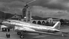 An American Airlines Douglas DC-3 in sleeper configuration at the Grand Central Air Terminal in Glendale (1940)