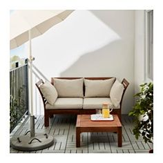 IKEA - ÄPPLARÖ / HÅLLÖ, Loveseat, outdoor, brown stained/beige, , By combining different seating sections you can create a sofa in a shape…