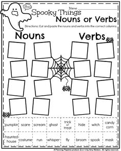 First Grade Worksheets for October – Spooky Things Nouns and Verbs. First Grade Worksheets for October – Spooky Things Nouns and Verbs. Halloween Worksheets, Halloween Activities For Kids, Classroom Activities, Halloween Kids, Educational Activities, Classroom Decor, Adjective Worksheet, Verb Worksheets, Calendar Worksheets
