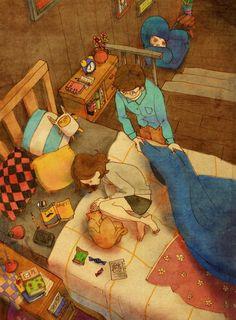 韩国插画师puuung的暖心爱情故事插画 - 图2