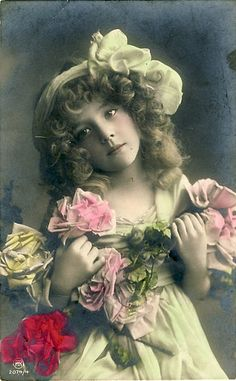 Vintage Girl with Flowers Postcard