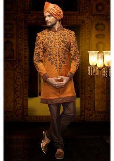 Orange jute aesthetic indo western sherwani -IW217