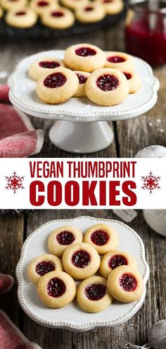 Vegan Thumbprint Cookies - The combination of tart jam and a buttery-sweet crumb is pure bliss in every bite. Vegan Thumbprint Cookies - The combination of tart jam and a buttery-sweet crumb is pure bliss in every bite. Vegan Baking Recipes, Vegan Dessert Recipes, Yummy Recipes, Vegan Cheesecake Recipes, Best Vegan Desserts, Cooking Recipes, Healthy Vegan Snacks, Vegan Treats, Vegan Foods