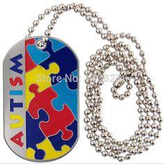 Autism Puzzle Piece Dog Tag Necklace Autism Awareness Jewelry