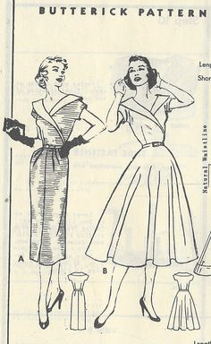 38e626e83e 1950s Vintage Sewing Pattern B38 DRESS R702 Butterick by tvpstore Vintage  Textiles
