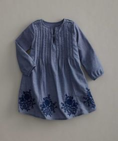 girls embroidered chambray dress