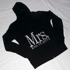 I want one!  Mrs. hoodies. Bride Hoodie. Zip Up Hoodie. Bridesmaid.  Wedding Clothing. Wedding Bridal Party. Maid of Honor. on Etsy, $28.99