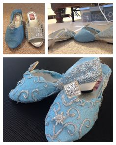 DIY Elsa shoes. The swirls were made using glittered hot glue sticks. Easy and fast drying.