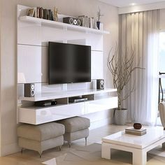 Tv Unit Design, Wall Unit Designs, Tv Stand Designs, Tv Wall Design, Floating Entertainment Center, Entertainment Room, Contemporary Entertainment Center, Living Room Tv, Living At Home
