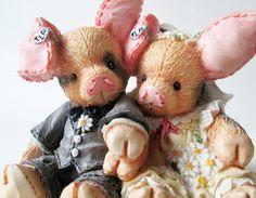 Wedding Pig Figurine Enesco This Little Piggy To by MetalsomeSwine