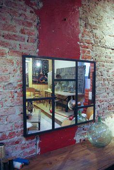 Miroir style atelier artiste verriere industrielle for Petit miroir industriel