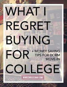 What I Regret Buying for College: There are so many dorm items you DON'T need, find out what they are. Follow these amazing money…