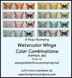 Klompen Stampers (Stampin' Up! Demonstrator Jackie Bolhuis): Watercolor Wings Color Chart
