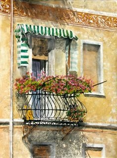 """summer balcony  trento italy 30"""" x 22"""" micheal zarowsky / watercolour on arches paper / available $2100.00"""